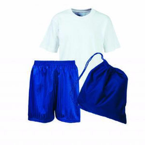 Old Hall Junior PE Kit White Teeshirt / Royal Shorts / Royal Bag