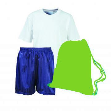 John T Rice Infant PE Kit (White Teeshirt / Navy Shorts / Emerald Bag )