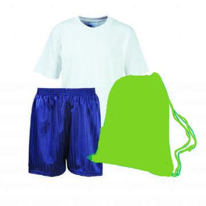 School Order John T Rice Infant PE Kit (White Teeshirt / Navy Shorts / Emerald Bag )