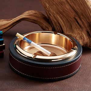 High quality leather ashtray with stainless steel metal