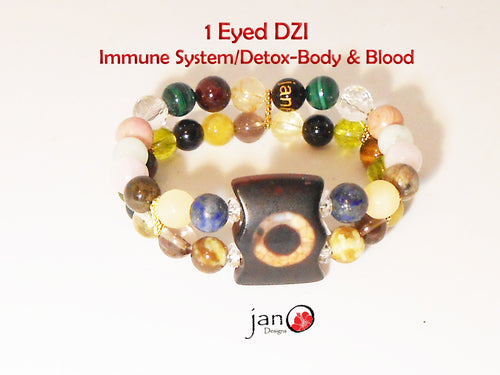 Immune System and Body and Blood Detoxification with 1 Eyed DZI Double Strand Bracelet - Healing Gemstones