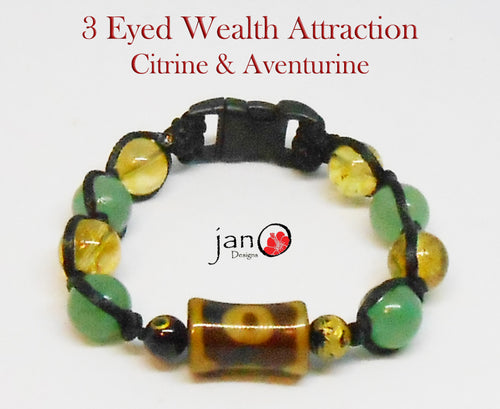3 Eyed DZI Wealth Attraction Bracelet w/Citrine & Aventurine - Healing Gemstones