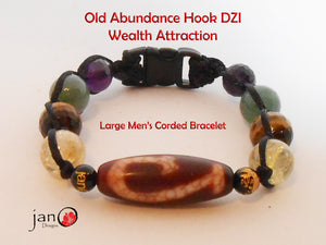 Ru Yi DZI Corded Wealth Attraction Bracelet - Men - Healing Gemstones