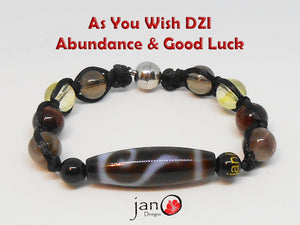 As You Wish DZI Wealth Attraction Bracelet - Abundance & Good Luck - Healing Gemstones