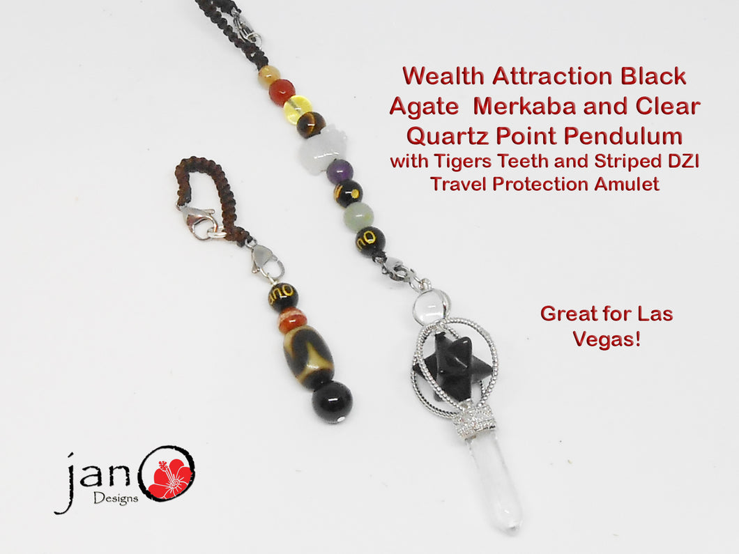 Wealth Attraction Pendulum- Black Agate & Crystal Quartz with Tigers Teeth & Striped DZI Travel Protection Amulet - Healing Gemstones