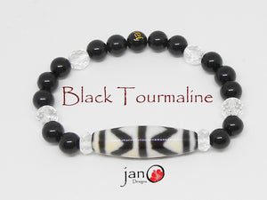 Black Tourmaline with Specialty DZI Bracelet - Healing Gemstones