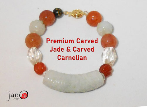 Carved Jade and Carnelian Hand-knotted Bracelet w/Gold-filled Clasp - Healing Gemstones