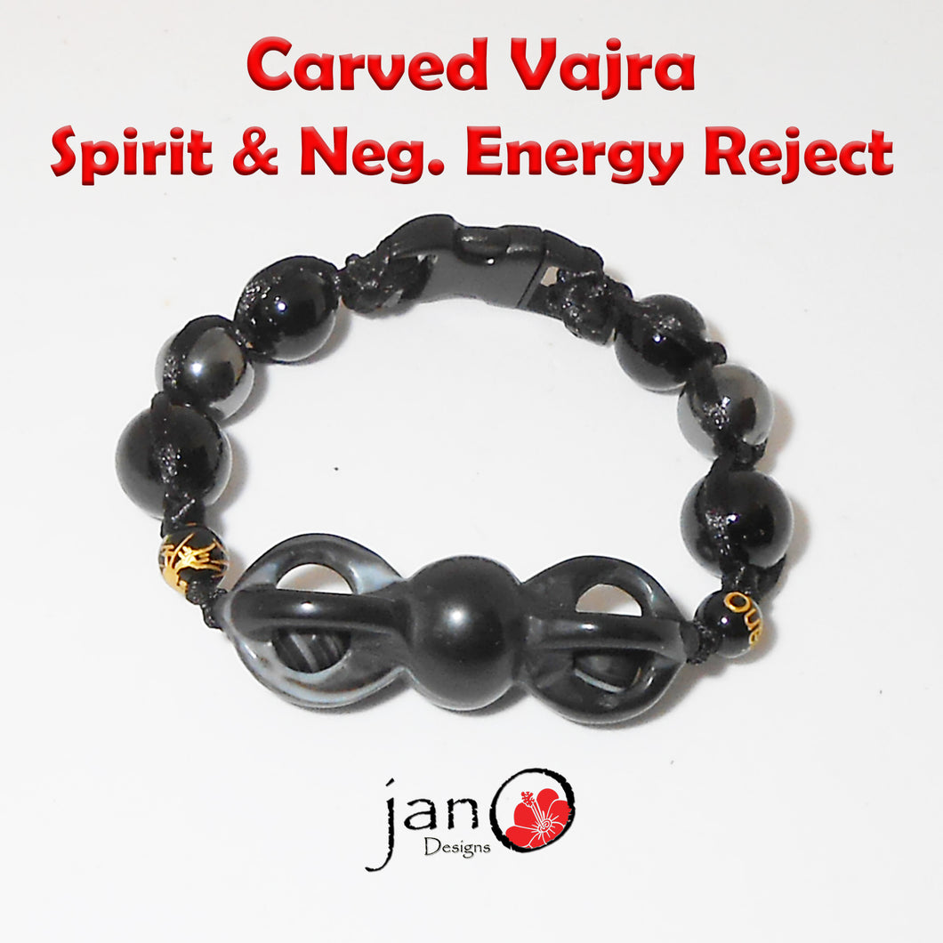 Vajra DZI Spirit Reject Protection Bracelet - Corded - Healing Gemstones