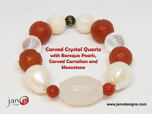 "Carved Crystal Quartz with Baroque Pearls, Carnelian Carved ""Fret"" Beads, Moonstone & Crystal Quartz - Healing Gemstones"