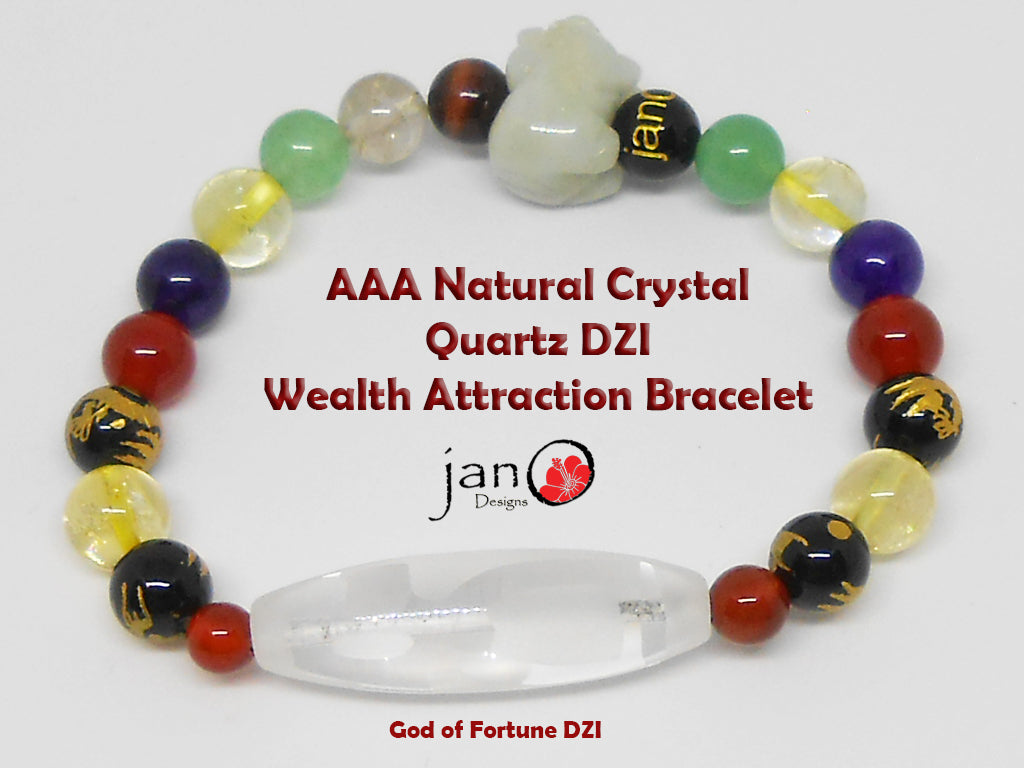 AAA Natural Crystal Quartz DZI Wealth Attraction Bracelet - Healing Gemstones