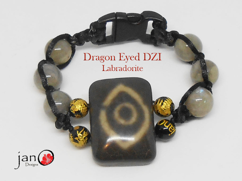 Dragon Eyed DZI with Labradorite - Corded - Custom Made - Healing Gemstones