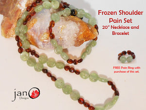 Amber and Kyanite Pain Frozen Shoulder Necklace/Bracelet Set w/Free Ring A - Healing Gemstones