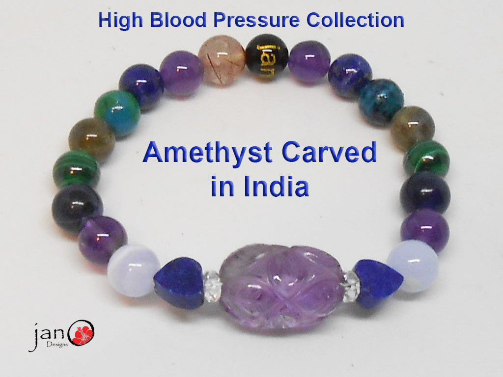 Natural Carved Amethyst High Blood Pressure Bracelet - Custom Made - Healing Gemstones