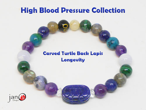 Natural Carved Turtle Back Lapis High Blood Pressure Bracelet - Custom Made - Healing Gemstones