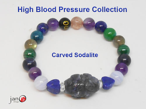Natural Carved Small Sodalite High Blood Pressure Bracelet - Custom Made - Healing Gemstones
