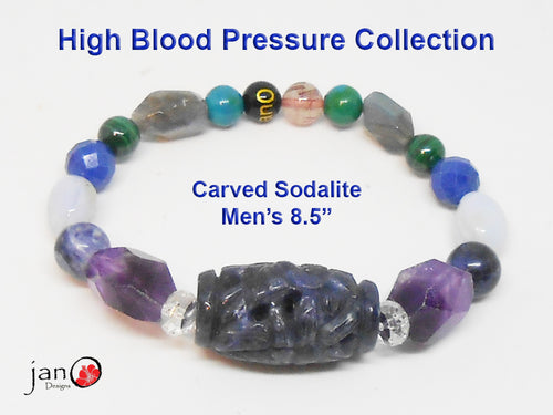 Natural Carved Sodalite High Blood Pressure Bracelet - Custom Made - Healing Gemstones