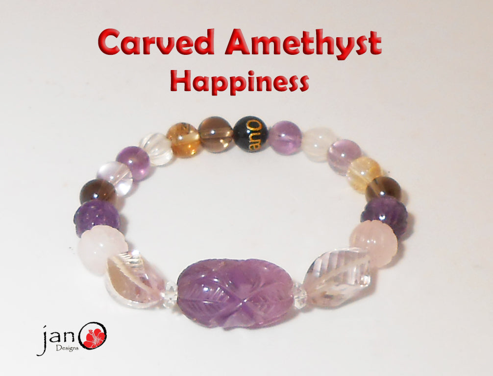 Carved Amethyst from India, Citrine, Rose Quartz & Carved Swirl Ametrine with Happiness Gemstones - Healing Gemstones