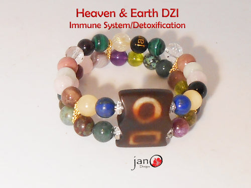 Immune System and Detoxification with Heaven and Earth Double Strand Bracelet - Healing Gemstones