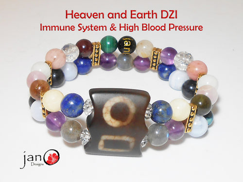 Immune System and HB Pressure with Heaven & Earth DZI Double Strand Bracelet - Healing Gemstones