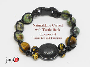 Natural Carved Jade Turtle Back w/Tiger Eye and Turquoise - Corded - Custom Made - Healing Gemstones