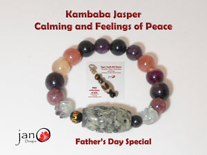 Natural Carved Kambaba Jasper Bracelet - Calming - Custom Made - Free Father's Day Key Charm Healing Gemstones