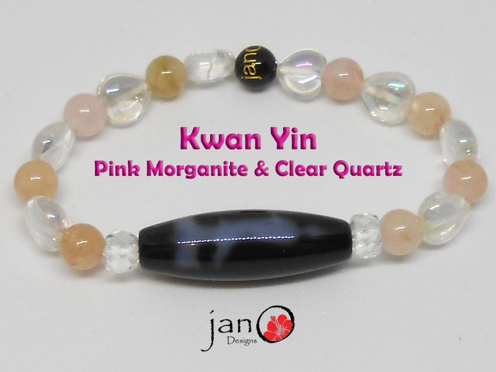Kwan Yin with Pink Morganite and Heart Shaped Clear Quartz - Healing Gemstones