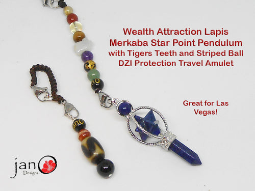 Wealth Attraction Pendulum- Lapis with Tigers Teeth & Striped DZI Travel Protection Amulet - Healing Gemstones