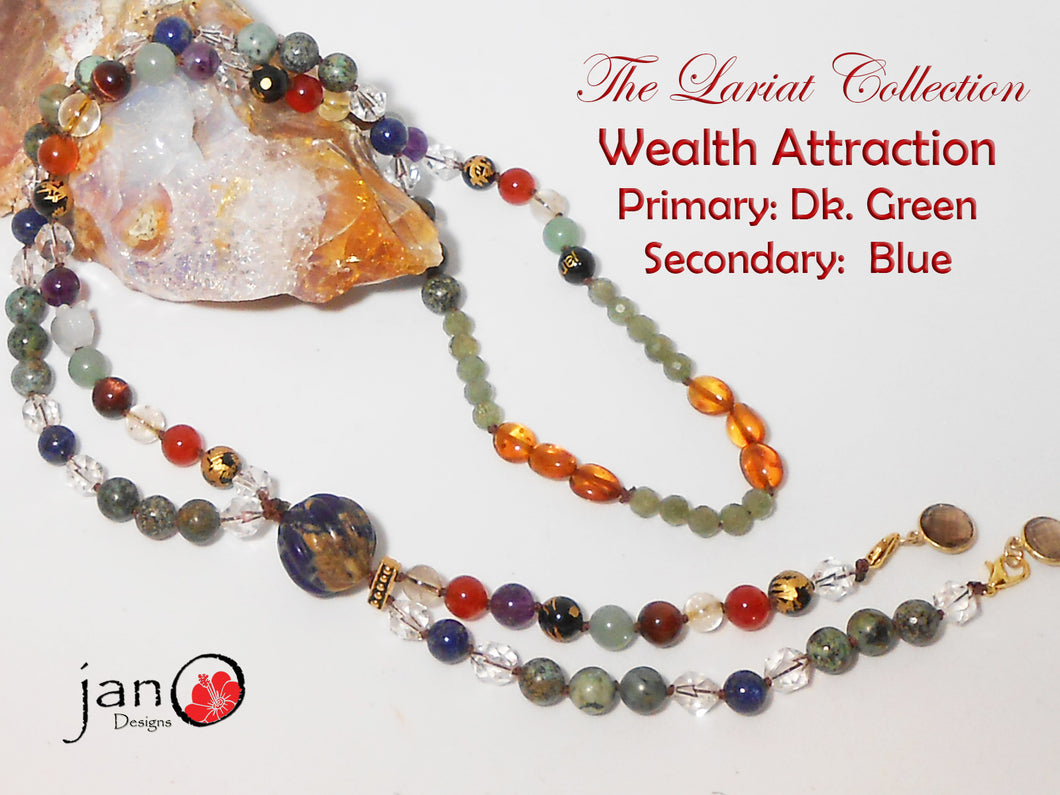 Wealth Attraction Lariat Necklace - Dark Green and Blue - Healing Gemstones