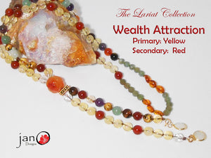 Wealth Attraction Lariat Necklace - Yellow and Red - Healing Gemstones