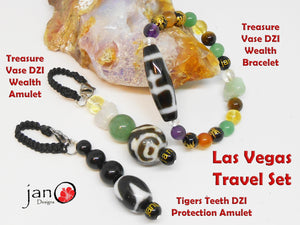 Las Vegas Travel Set - Treasure Vase Wealth Bracelet, Wealth Amulet & Travel Protection Amulet - Healing Gemstones
