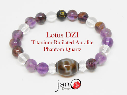 Titanium Rutilated Auralite Phantom Quartz with Specialty DZI - Healing Gemstones