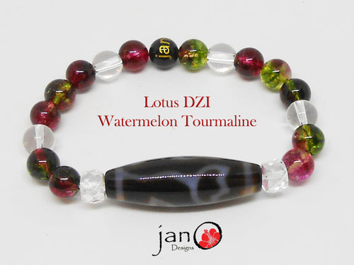 Watermelon Tourmaline with DZI Bracelet - Healing Gemstones