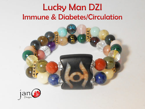 Immune System and Diabetes/Circulation with Lucky Man DZI Double Strand Bracelet - Healing Gemstones