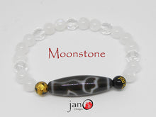 Load image into Gallery viewer, Moonstone with Specialty DZI Bracelet - Healing Gemstones