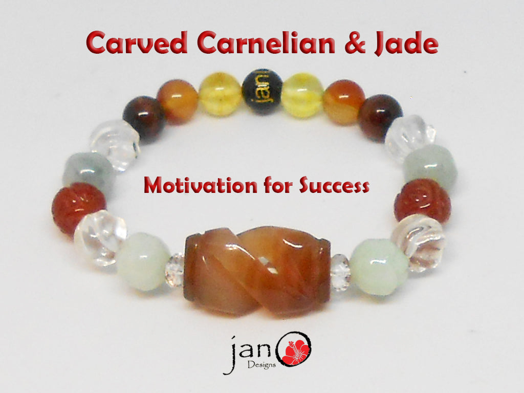 Motivation for Success Bracelet w/Carved Carnelian and Carved Jade - Custom Made - Healing Gemstones