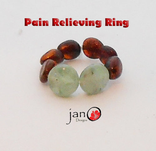 Amber and Kyanite Pain Ring - Healing Gemstones