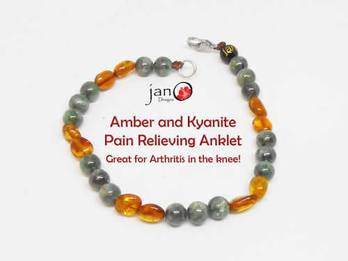 Amber and Kyanite Pain Anklet 9