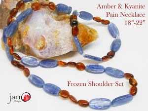 Amber and Kyanite Pain Frozen Shoulder Necklace/Bracelet Set - Healing Gemstones