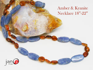 "Amber and Kyanite Pain Necklace 18""-22"" - Healing Gemstones"