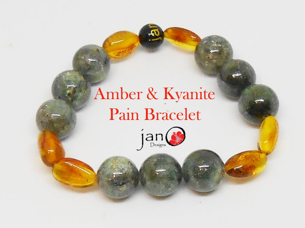 Amber and Kyanite Pain Bracelet 02 - Healing Gemstones