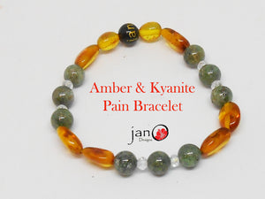 Amber and Kyanite Pain Bracelet - Healing Gemstones