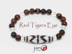 Red Tiger's Eye with DZI Bracelet - Healing Gemstones