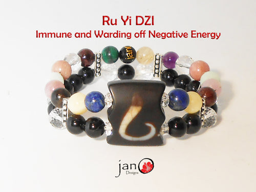 Immune System and Ward off Negative Energy with Ru Yi DZI Double Strand Bracelet - Healing Gemstones
