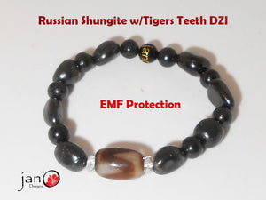 Russian Shungite w/Tigers Teeth DZI Bracelet - Healing Gemstones A