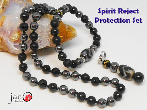 Spirit Reject Protection Set - Tigers Tooth DZI - Healing Gemstones