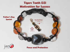 Tigers Teeth DZI Bracelet - Corded - Motivation for Success - Custom Made - Free Father's Day Key Charm Healing Gemstones