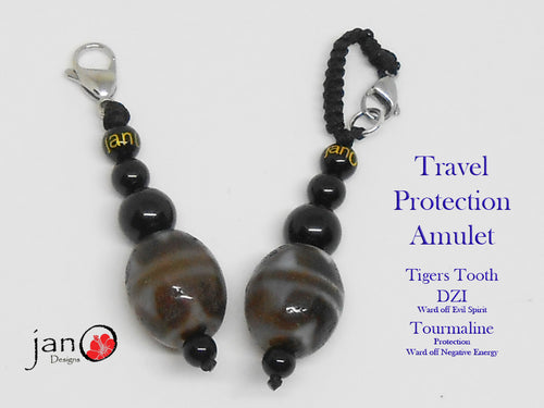 Pair of Travel Amulets - Tigers Tooth DZI with Black Tourmalines - Healing Gemstones