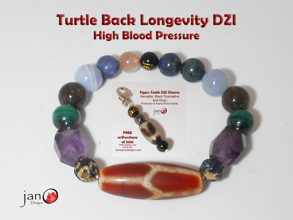 Turtle Back Longevity DZI High Blood Pressure w/Free Fathers Day Key Charm - Healing Gemstones