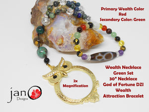 Wealth Attraction Set - Green - Healing Gemstones