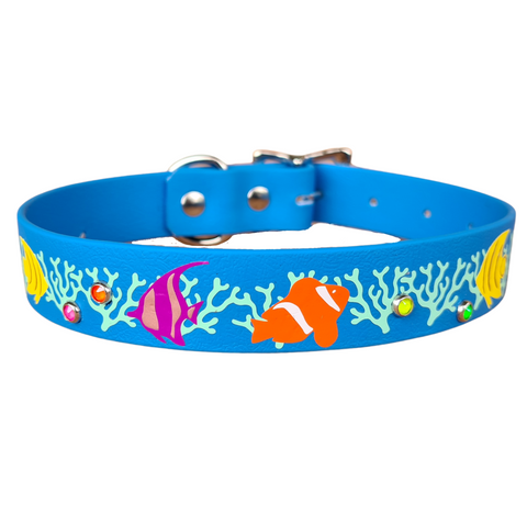 Collar & Ruff Biothane Print Collar - Tropical Fish